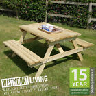 NEW 4FT 5FT + ROUND WOODEN PRESSURE TREATED PICNIC PUB BENCH TABLE