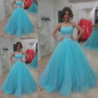Blue Net Beaded Waist Ball Gown Formal Party Prom Evening Prom Dresses Size 6-16