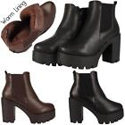 Ladies Womens High Heel Chelsea Platform Chunky Block Amy Ankle Boots Shoes Size
