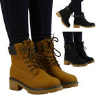 NEW WOMENS LADIES LACE UP COMBAT ARMY WORK LOW HEEL HIGH ANKLE BOOTS SHOES SIZE