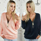 Women Sexy V neck Tops Blouse Ladies Casual Loose Sweater Jumper Pullover Coat