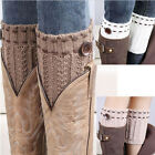 Women Ladies Trendy New Crochet Knitted Button Boot Cuffs Toppers Leg Warmers