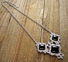 Chain Necklace Filigree Triple Simulated Stone Pendant Cowgirl Fashion Jewelry