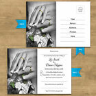 Personalised Wedding RSVP Reply Cards - Double Sided - A6 Size - 2 Rings Design