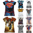 Superman Licensed Sublimation Women's Junior T-Shirt Short Sleeve Tee Top White