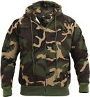 Mens Woodland Camouflage Thermal Lined Zipper Sweatshirt