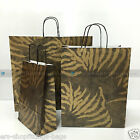 25x PAPER CARRIER BAGS TWISTED HANDLE HIGH QUALITY GIFT BOUTIQUE BAG GOLD ZEBRA