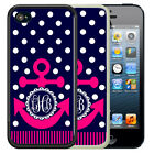 MONOGRAMMED RUBBER CASE FOR iPHONE 5 5S SE 5C 6 6S 7 PLUS NAVY POLKA DOT ANCHOR