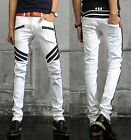 New Mens Italy Stylish Bands Stretch Denim Biker Washed White Jean 28-38 (919)