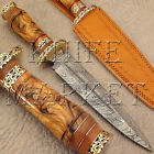 BEAUTIFUL HAND MADE DAMASCUS STEEL HUNTING KNIFE | DAGGER BOWIE | OLIVE WOOD