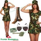 Ladies ARMY Fancy Dress + Bullet Belt Costume Soldier WW2 World War Two outfit