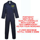EMBROIDERED PERSONALISED BOILERSUIT OVERALLS CUSTOM PORWEST S999 NAME NAVY BLUE
