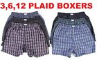 New Lot 3 6 12 Men Boxers Plaid Shorts Underwear Cotton Pairs Briefs Size S-4XL