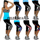Womens YOGA Gym Sports Capri Fitness Stretchy Legginhs Tights Cropped 3/4 Pants