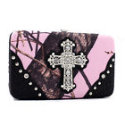 MOSSY OAK RHINESTONE CROSS CAMO WESTERN WALLET PURSE PINK, ORANGE, BROWN, BLACK