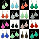 Crystal Quartz Turquoise Agate Cat's Eye Teardrop Gemstone Dangle Hook Earrings