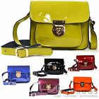 REAL PATENT LEATHER SATCHEL CROSS BODY BAG LIME GREEN ORANGE BLACK RED