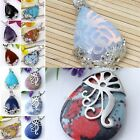 Quartz Amethyst Turquoise Gemstone Teardrop Floral Pendant Bead Necklace DIY FB