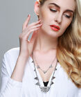 Women Vintage Antique Style Double Layer Geometry Triangle Pendant  Necklace