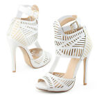 2016 Womens white wedding cut out stilettos bridals bridesmaid sandal heel shoes