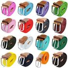 Unisex Leather Braided Fabric Elastic Woven Stretch Cover Buckle Waistband Belt