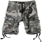 SURPLUS AIRBORNE VINTAGE CARGOS MENS COTTON ARMY COMBAT SHORTS WASHED NIGHT CAMO