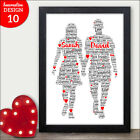 Personalised Couples Word Art Print Gift Valentines Day Anniversary Love Gifts