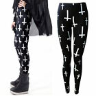 NEW LADIES BLACK AND WHITE GOTHIC CROSS PRINT STRETCHY LONG LEGGINGS SIZE 8-20