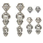 Casablanca Chandeliers Drop Earrings Geometric Art Deco PavÉ-Encrusted Silver