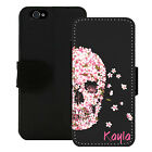 PERSONALIZED WALLET CASE FOR iPHONE 5 5S SE 6 6S 7 PLUS PINK FLOWER SKULL