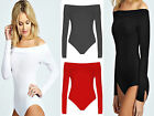 New Ladies Women Off Shoulder Bodysuit Top Shirt Long Sleeve UK 8-14