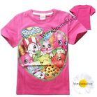 Girls Shopkins T-Shirt. Dark Pink. Sizes 5,6,7 and 8. AU STOCK FAST POSTAGE