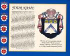 "HERITAGE COAT OF ARMS & YOUR FAMILY SURNAME HISTORY PRINT 10"" x 8"""