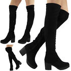 WOMENS LADIES THIGH HIGH BOOTS OVER THE KNEE LONG STRETCH MID HEEL SHOES SIZE