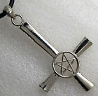 Gothic Upside down Inverted Pentagram Pentacle Cross Star Occult Pewter Pendant