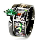 camo wedding band sets - Camo Black Marquise Stainless Steel & Titanium Engagement Wedding Ring Band Set