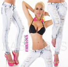 Sexy Womens Skinny Distressed Hot Studded Designer Jeans Size 6 8 10 12 XS S M L