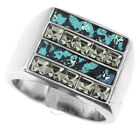 Smoky Square Stones & Leather Top Four Row Silver Stainless Steel Mens Ring
