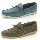 Mens SALE Maverick A1101 Grey or Brown Leather Slip On Deck Shoes