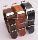 20MM PU LEATHER SMOOTH MILITARY ARMY WATCH STRAP BAND Golden BUCKL 1pcs