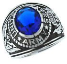 Sapphire Blue Stone US Army Military Silver 316SS Crown Top Mens Ring