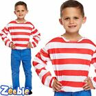 Boys Girls Red and White Striped Top Kids Book Week Age 4-12 Years