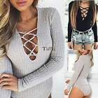 Women V neck Bodysuit Long Sleeve Rompers Ribbed Knitted Jumpsuits Leotard TXWD