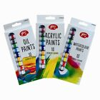 Artists Paints - 10 Pack - Choice of Acrylic, Oil or Watercolour