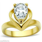 Pear Shaped Covered 3.2ct CZ Solitaire Gold EP Ladies Ring