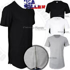 Mens Long T Shirt Hip Hop Zipper Crew Neck Elongated Extended Tee Casual Fashion