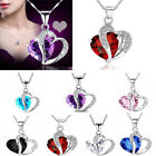 New Fashion Women Heart Crystal Rhinestone Silver Chain Pendant Necklace Jewelry