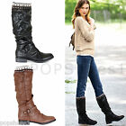 WOMENS LADIES LOW FLAT HEEL STRETCH CALF WINTER RIDING BIKER ZIP KNEE BOOTS SIZE