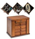 Large Wooden Jewellery Box Display Organiser Earring Ring Necklace Storage Case