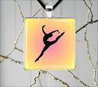 GYMNASTIC SPORT GIRL IN ACTION PENDANT NECKLACE  -drF5Z
